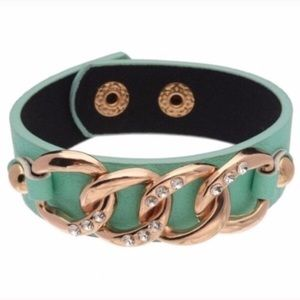 Mint Chain Link Faux Leather Cuff